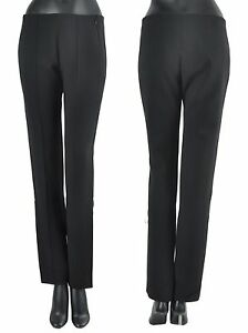 MUGLER 1000$ Straight Trousers / Dress Pants In Black Virgin Wool