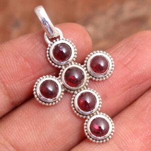 "Red Garnet Gemstone 925 sterling Silver Jewelry Handmade Cross Pendant 1.5"""