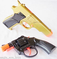 2x Toy Guns Gold 9MM Pistol & Detective Snub-nosed Revolver Cap Gun Set