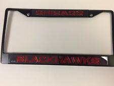 Chicago Blackhawks Black Laser Cut Metal License Plate Cover Frame NEW! Red