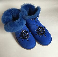 New Exclusive Unique Embroidered Uggs, Blue, Size 7