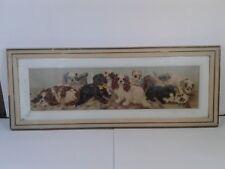 Victorian RARE Yard Long Puppy Print C.L. Van Vredenburgh in Original dbl Frame