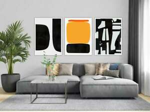 Yellow Black Red Wall Art Abstraction, Black and White Abstract Modern Set of 3