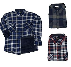 Mens New Padded Check Lumberjack Flannel Work Jacket Warm Thick Top Long Sleeves