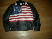 """Black HEAVY-LEATHER MEGA""""OLD GLORY""""2-in-1 BIKER Jacket,4 YOUTH XL or SMALL ADULT"""