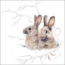 4 x Single Paper Napkins/3 Ply/Decoupage/Craft/Christmas/Rabbit/Bunnies