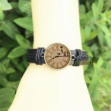 Peter Pan clock Black Bangle 20 mm Glass Cabochon Leather  Charm Bracelet