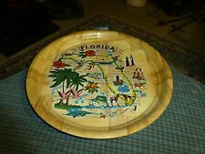 """Vintage 60's Florida State Bamboo Tray W/ Full Color Print 13"""" Taiwan Vg !"""