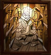 French Art Deco Stained Glass Panel by Jean-Jacques Grüber