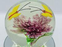 Vintage Hand-Blown Flower w/ Butterflies Art Glass Paperweight