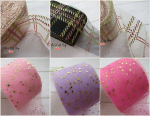 🎀 1MTR 6CM WIDE  TULLE FABRIC PLAID STARS BOWS CRAFTS CHOICES SUPPLIES 🎀