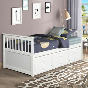 TOPMAX Captain's Bed Twin Daybed with Trundle Bed and Storage Drawers 2 color