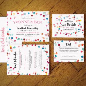 Confetti Swirl Wedding Invitation set. Blush pink, mint, gold, calligraphy