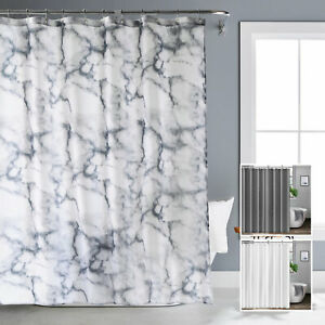 Grey Marble Bathroom Shower Curtain Set Extra Wide Extra Long Standard With Hook