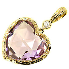 Unique Lavender Pink Heart Amethyst & Diamond Pendant Necklace 14k Yellow Gold