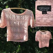 Topshop Size 6/8 Floral Lace Crop Top Fitted Stretch Summer