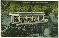 Glass Bottom Boat Feeding Bass Silver Springs Florida FL Vintage Linen Postcard