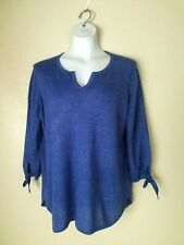 TALBOTS WOMEN'S 100% LINEN BLUE PULLOVER SWEATER SIZE L/ CAN FIT XL