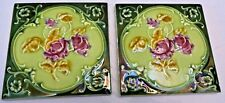 TILE PORCELAIN MAJOLICA ART NOUVEAU PURPLE FLOWER VINTAGE ENGLAND COLLETIBL # 55
