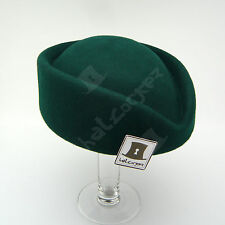 VINTAGE Wool Felt Ladies Pillbox Hat Women Fascinator Hostesses | 56cm | Green