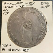 Philippines 1836 8 Reales Isabella YII c/s on Peru