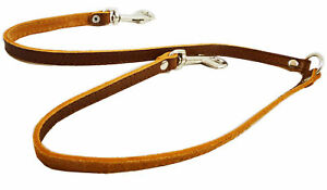 """Genuine Leather Double Dog Leash - Two Dog Coupler Small: 15"""" long by 1/2""""wide"""
