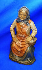 Vintage German Synthetic Resin Bavarian Woman with Basket Figure #BR