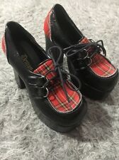 Demonia Chunky Platform Red Plaid Heels Pumps Goth Punk Rockabilly Pinup Charade