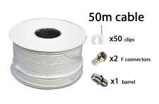 50m Blanco RG6 Satélite Tdt Tv Digital Sky + HD Antena Cable Coaxial Coaxial