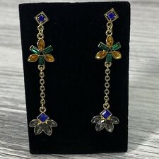 Long Dangle Multi Color Stone Drop Earrings Jewelry Ear Rings Chain