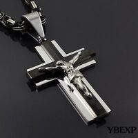 20-36'' MENS Stainless Steel Black Silver Jesus Cross Pendant Necklace Chain