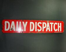 PLAQUE EMAILLEE ANCIENNE JOURNAUX DAILY DISPATCH PROTECTOR NEWS PLATE OLD