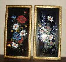 lot de 2 Tableau peinture à l'huile signée ?? bouquet de fleurs encadre 40/20 cm
