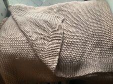 "threshold™ BLUSH PINK CHUNKY KNIT THROW BLANKET 50x60"" ~ribbed hem beige chair"