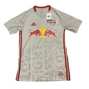 Adidas New York Red Bulls Home Soccer Jersey 2020 Grey Red Men MEDIUM GE5914