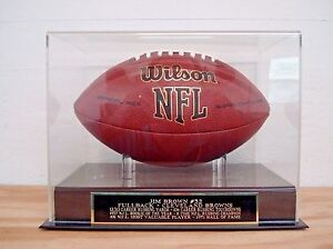 Jim Brown Football Display Case With A Cleveland Browns Engraved Nameplate