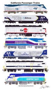 "California Passenger Locomotives 11""x17"" Poster Andy Fletcher signed"