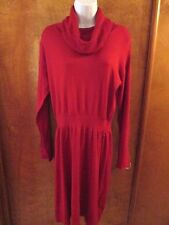 """Ladies """"daisyfuentes""""  L, Red, Turtleneck,Pullover, Long Sleeve, Sweater Dress"""