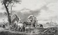 DEMARNE; GÉBARD, Reisende Bauern mit Fuhrwerken, 19. Jh., Litho