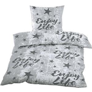 Seersucker Bettwäsche 2er -oder 4er Set 135x200 cm in Grau mit Sternen & Print
