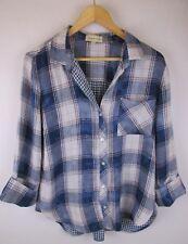 Cloth & Stone Anthropologie Blue Plaid 3/4 Sleeve Button Front Shirt Size Medium