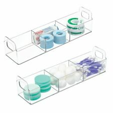 mDesign Plastic Bathroom Vanity Organizer Storage Caddy Holder, 2 Pack - Clear