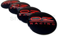 SET OF 4x 56mm Oz Racing Black Red Wheel Center Caps Curve Badge STICKERS