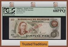 "TT PK 149s 1970 PHILIPPINES 10 PISO ""SPECIMEN"" PCGS 68PPQ SUPERB GEM NEW POP ONE"