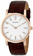 Bulova Men's Quartz Rose-Gold White Dial Brown Leather Band 38mm Watch 97A106