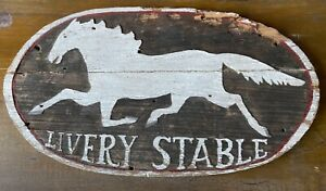 Antique Running Horse Livery stable Sign 1920-30's Relief Carved & Painted.