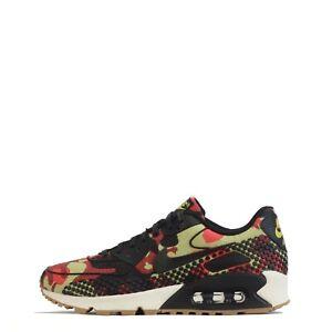 Nike Air Max 90 Jacquard Premium Women's Trainers Shoes Bright Crimson/Black