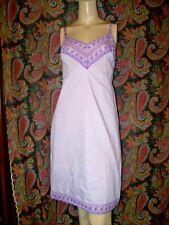 Vintage Purple Cotton Eyelet Lace Empire Slip Nighty Lingerie 36