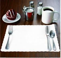 "100 Raise® White Paper Placemats, Scalloped Edge, 10""x14"" place mats, Disposable"