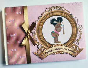 Personalised Egyptian princess girls baby shower guest book, gold and pink album